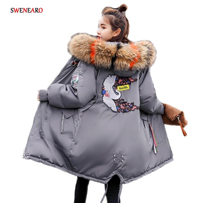 2017 Nouveau femmes d'hiver parka Grand Raton Laveur de col de fourrure à capuchon 7 couleurs manteau Coton outwear long hiver veste Cordon conception