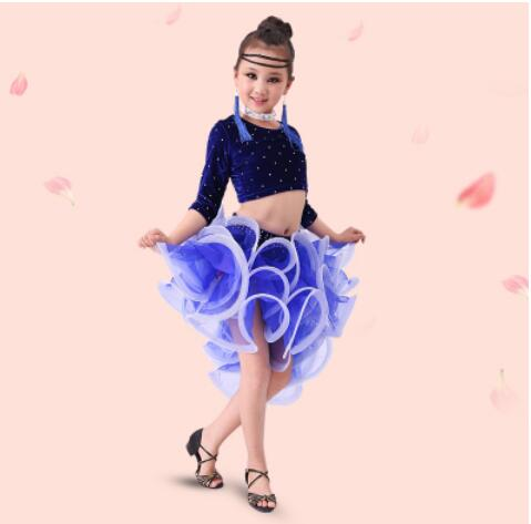 120-160 4 colors black blue red pink children Latin dance performance children's dress kid girls Latin dance skirt female