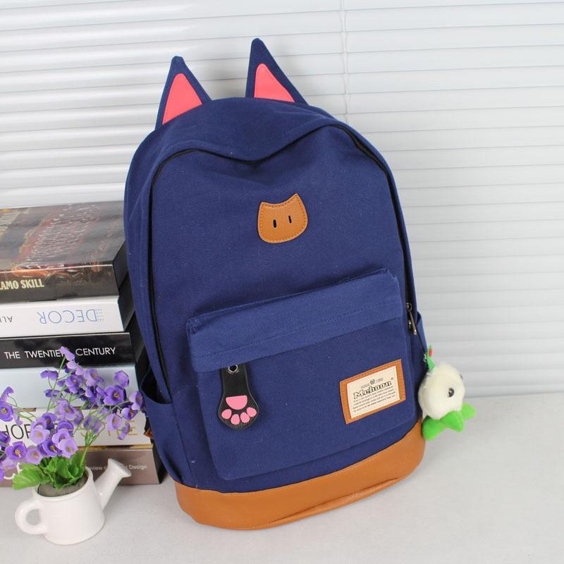 10 Color Brand New Women Cartoon Cat Ear Shoulder Bag Backpack Schoolbag Women Canvas Backpacks Travel Bags