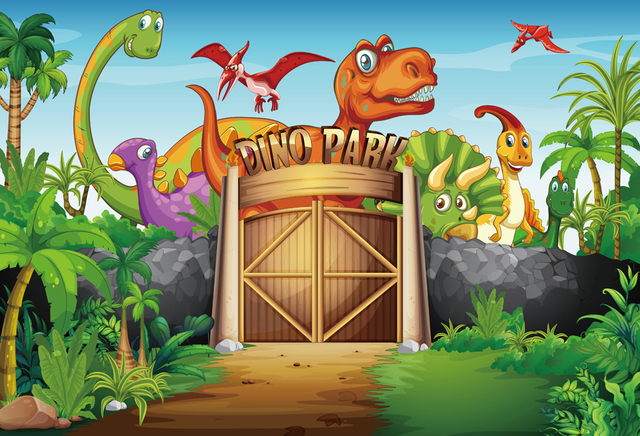 HUAYI 7x5ft dinosaur park Themed animals birthday party banner photo