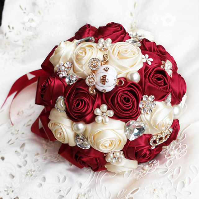 Customize Color Size Handmade Wedding Bride Bouquet Wine Red Ribbon