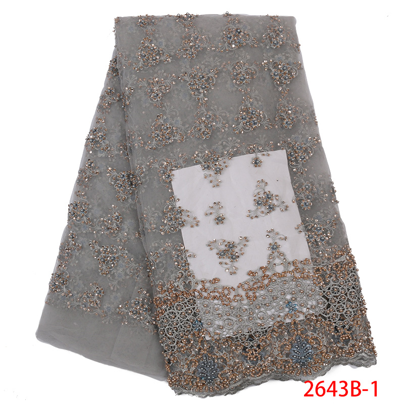 High Quality African Lace Fabric Tulle Lace With Beaded French Mesh Net Fabric Lace With Stones 5Yards KS2643B-1