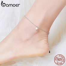 bamoer Simple Design Star Silver Anklet for Women Sterling Silver 925 Bracelet for Ankle and Leg Fashion Foot Jewelry SCT009(China)