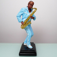 Temple painted Black Band Music Resin Ornament Sax Player Figurine Saxphone Musican Home Bar Club Decoration