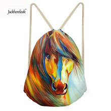 Jackherelook Drawstring Bag Backpack Women School Beach Travel Shopping Bag 3D Crazy Horse Pattern Child Small Cinch Sack Pouch