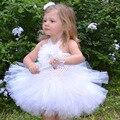 Rosette Vintage de Lujo Pequeño Bebé Crochet Tutu Vestido con Accesorios para el Cabello Niñas Princesa Blanca de La Boda Vestido de Fiesta TS087