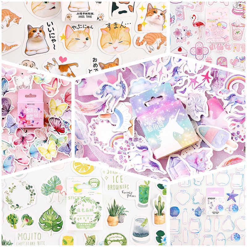 45 PCS/Kotak Stiker Scrapbooking Kucing Flamingo Unicorn Hewan Kawaii Sticker Dekorasi Diary Diy Tanaman Lengket Kertas Alat Tulis