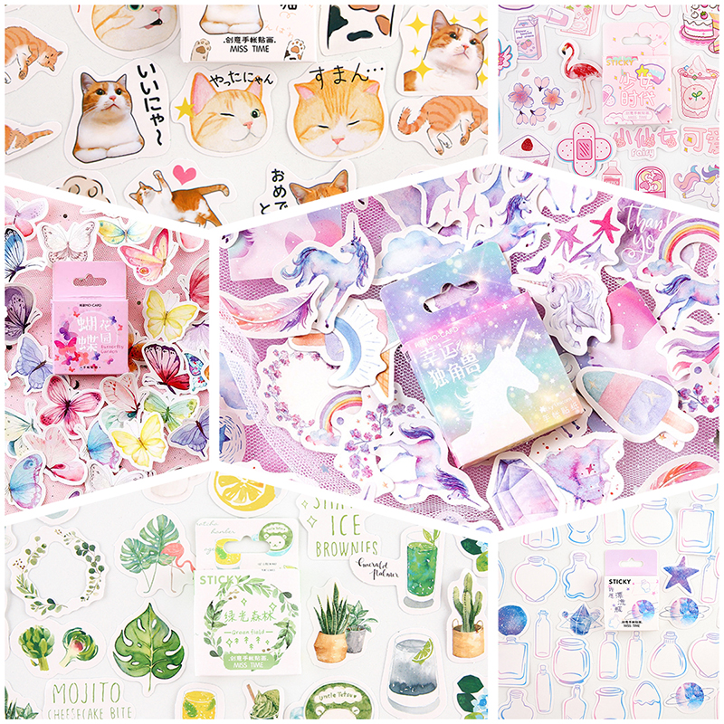 45pcs/box Stickers Scrapbooking Cat Flamingo Unicorn Animal Kawaii Sticker Decoration Diary DIY Plant Sticky Paper Stationery