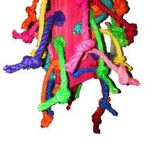 Смешанный цвет Попугай Игрушка цвет пеньковая веревка Хлопок Веревка укуса игрушка деревянная птица поставки животное птица Висячие украшения цвет ful