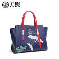 Pmsix 2019 New women Leather bag famou brand women Leather handbags fashion embroidery bag blue tote women leather Shoulder bag