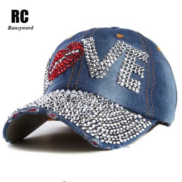 Love rhinestone crystal Hat women Denim baseball cap Vintage Female Sexy  lips jean hats Point drill ac5d0cac50ce