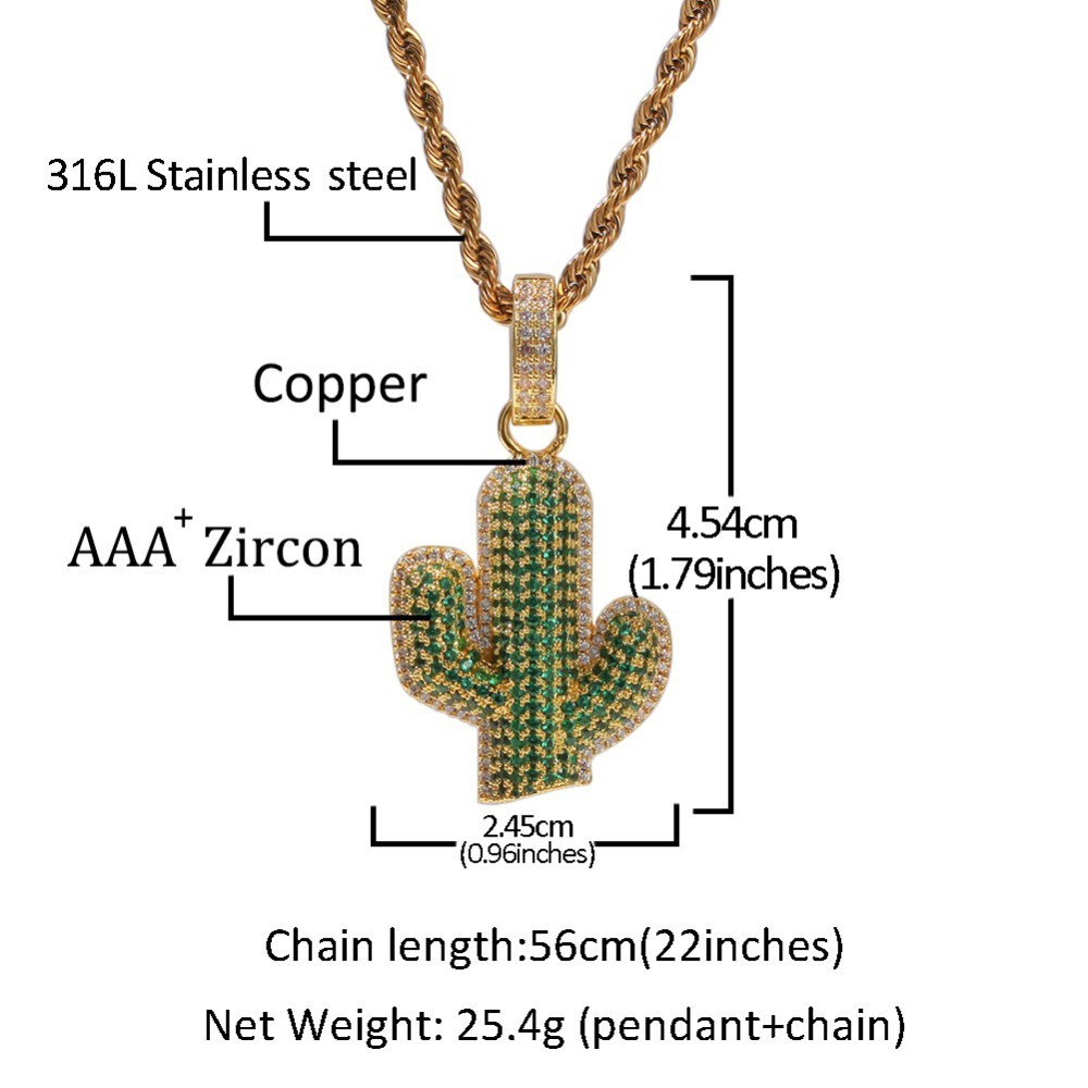 Image 5 - UWIN Full Iced Out White/green Cubic Zirconia Cactus Shape Pendants Fashion Hiphop Plant Necklace Gold Color Mens Jewelry-in Chain Necklaces from Jewelry & Accessories