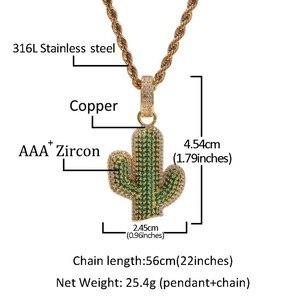 Image 5 - UWIN pendentifs en forme de Cactus en zircone cubique glacé, collier de plante hip hop à la mode, couleur or pour hommes