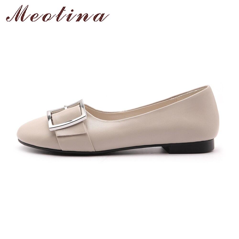 Meotina chaussures en cuir véritable femmes ballerines boucle bateau chaussures mocassins femmes en cuir de vache plat 2018 printemps chaussures noir - 5