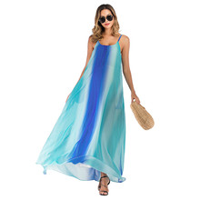 Long Skirt Gradient Chiffon Sling New Pregnant Women Beach Sleeveless Cover Belly Loose Dress Maternity Gown MM613