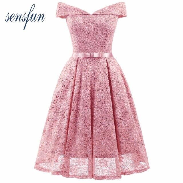 b6bfdcf94e Sensfun Off the Shoulder Summer Dress Burgundy Pink Lace Dress Women Vintage  Dress Vestidos Audrey Hepburn