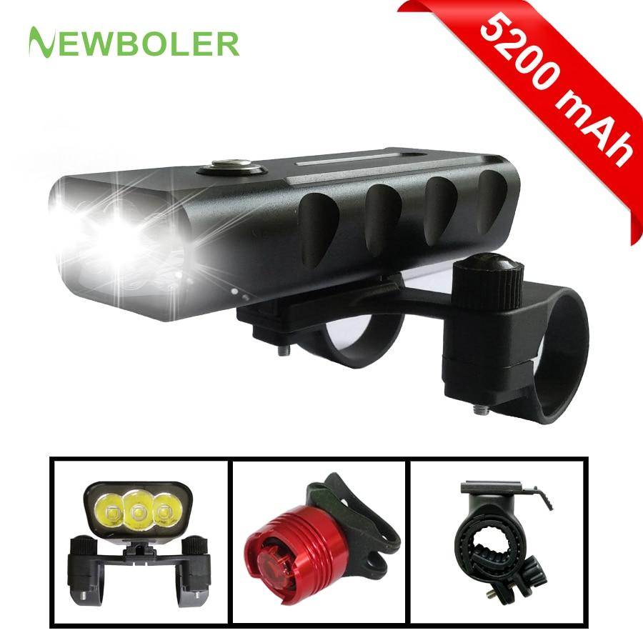 NEWBOLER 2400 Lumen 3 LED Bicycle Light 5200mah L2/T6 Flashlight USB Charge Lamp Bike Front Light Set 2 Holder Mount Accessories