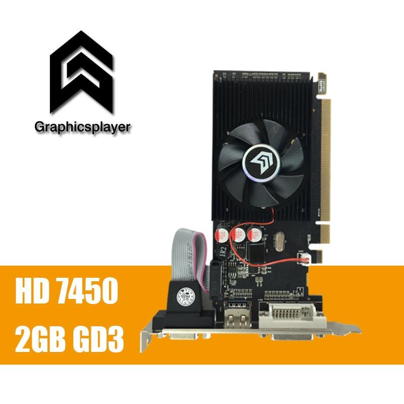 100% new original  graphics card  pci express HD7450 2GB DDR3 64bit  LP placa de video card PC  for ATI radeon  free shipping 1