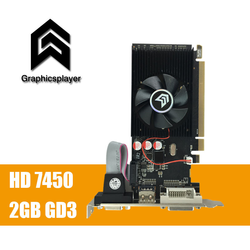 100% new original  graphics card  pci express HD7450 2GB DDR3 64bit  LP placa de video card PC  for ATI radeon  free shipping-in Graphics Cards from Computer & Office    1