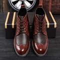 New Fashion British Vintage Carved Pointed Toe High Top Lace Up Low Heel Business Casual Men's Oxfords Shoes