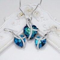 Bella Moda 925 Ayar Gümüş Kalp Gelin Kolye Küpe Seti Avusturyalı Crystal Takı Seti Parti Takı Sevgililer Hediye