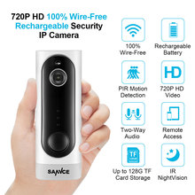SANNCE Home Security 720P HD Mini IP Camera WiFi Wireless Night Vision Camera 3000mA Rechargeable Battery PIR Camera