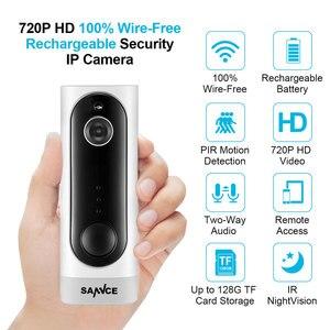 Image 1 - Sannce 홈 보안 720 p hd 미니 ip 카메라 와이파이 무선 나이트 비전 카메라 3000ma 충전식 배터리 pir 카메라