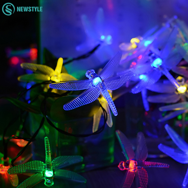 Dragonfly fairy string lights 30leds solar lamps power led string dragonfly fairy string lights 30leds solar lamps power led string outdoor lighting for party garden christmas mozeypictures Choice Image