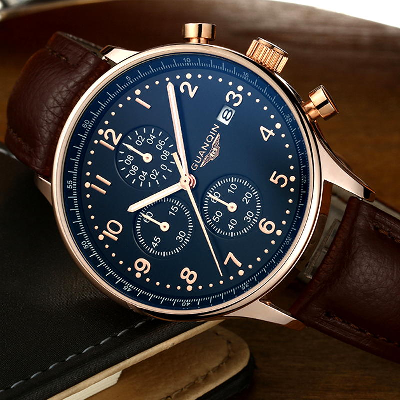 Mens Watches Top Brand Luxury GUANQIN Chronograph Luminous Hands Clock Men Military Sport Leather Quartz Watch relogio masculino men s watches top brands luxury watches guanqin men s military sport watch leather luminous quartz watch relogio masculino