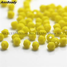 100pcs Solid Yellow Color 4mm Bicone Crystal Beads Glass Beads Loose Spacer Beads DIY Jewelry Making Austria Crystal Beads