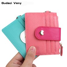 2019 new women's bag cute heart multi-card card package leather buckle mini Japan and South Korea ladies coin purse original smart 650643 ymcko 250 images idp monochrome plastic card printer ribbon of south korea pvc card printers ribbon