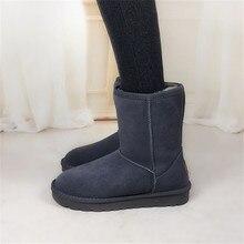 Plus Size 34-44 Women's Winter Boots Flats Genuine Leather Autumn Winter Snow Shoes Men Wool Fur Warm Footwear Sapatos Mid-Calf