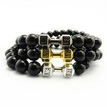 2016 Fashion Mens Bracelet Natural Stones Live Lift Dumbbell Bracelet Lava Onyx beads Fitness Rockmen bracelet For Women