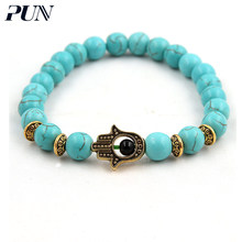 PUN couple men beads chakra best friend bracelet magnetic natural stone bracelet for women femme accessories jewelry bijouterie(China)