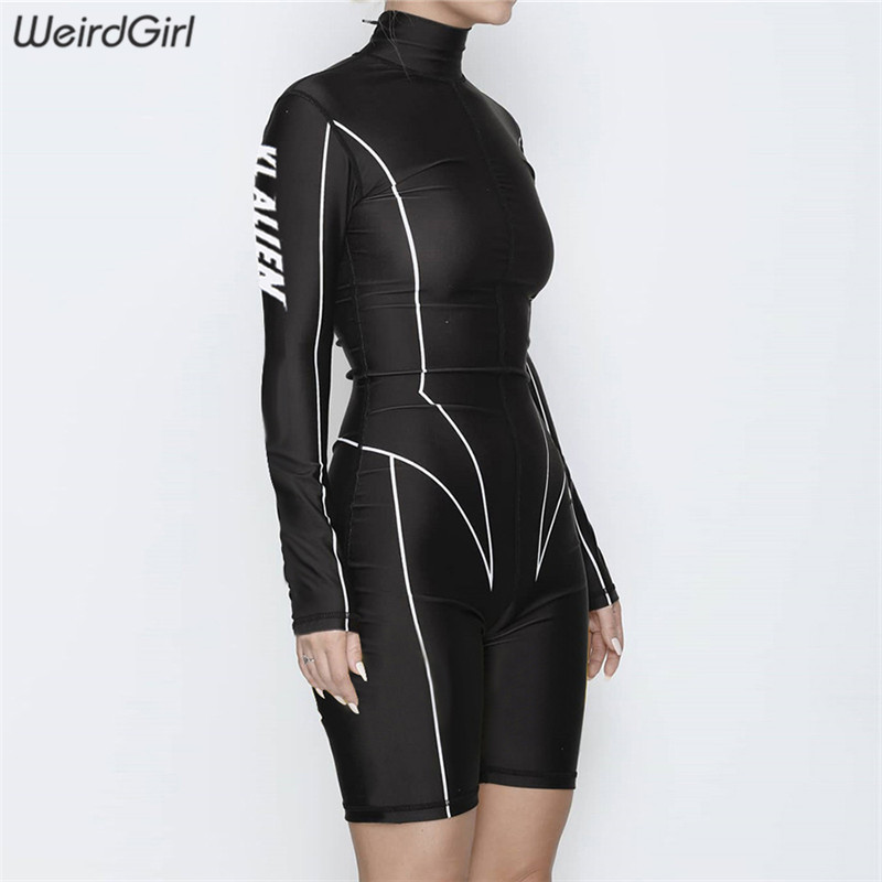 Weirdgirl women playsuits fitness casual long sleeve female   jumpsuits   and rompers letter skinny slim sportswear bodysuits new