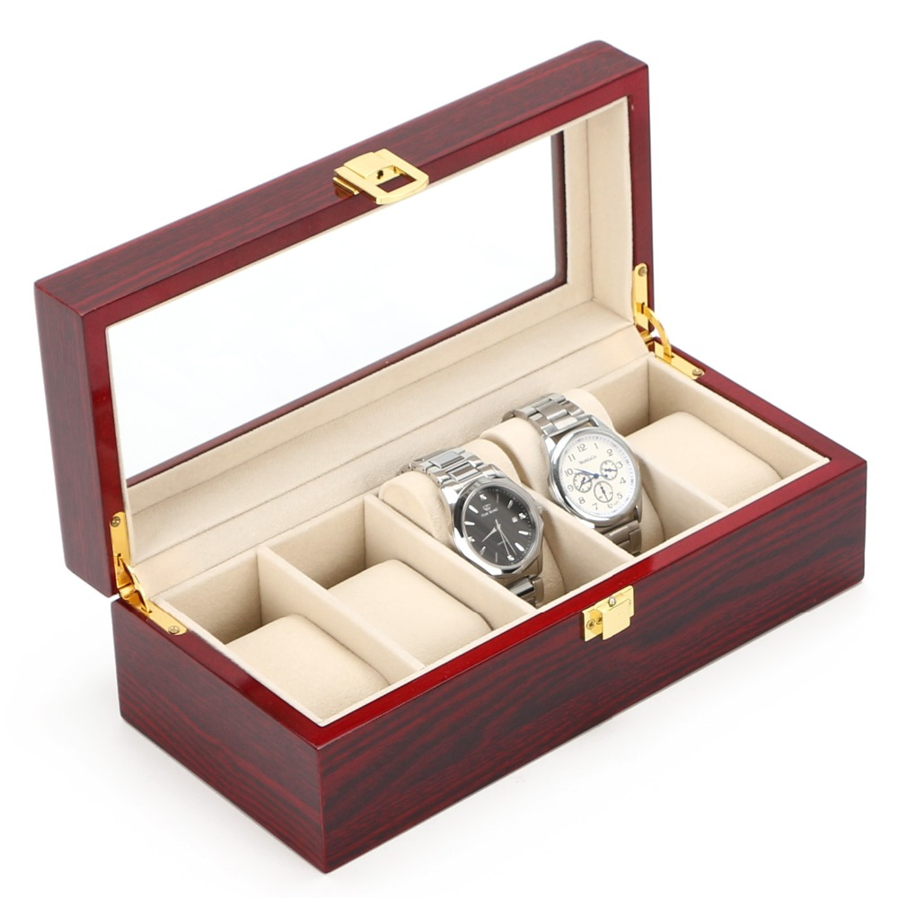 Caja de exhibición de reloj de madera de 5 ranuras Organizador de reloj rojo claro Soporte de reloj de MDF Almacenamiento Caja de cajas de reloj de joyería