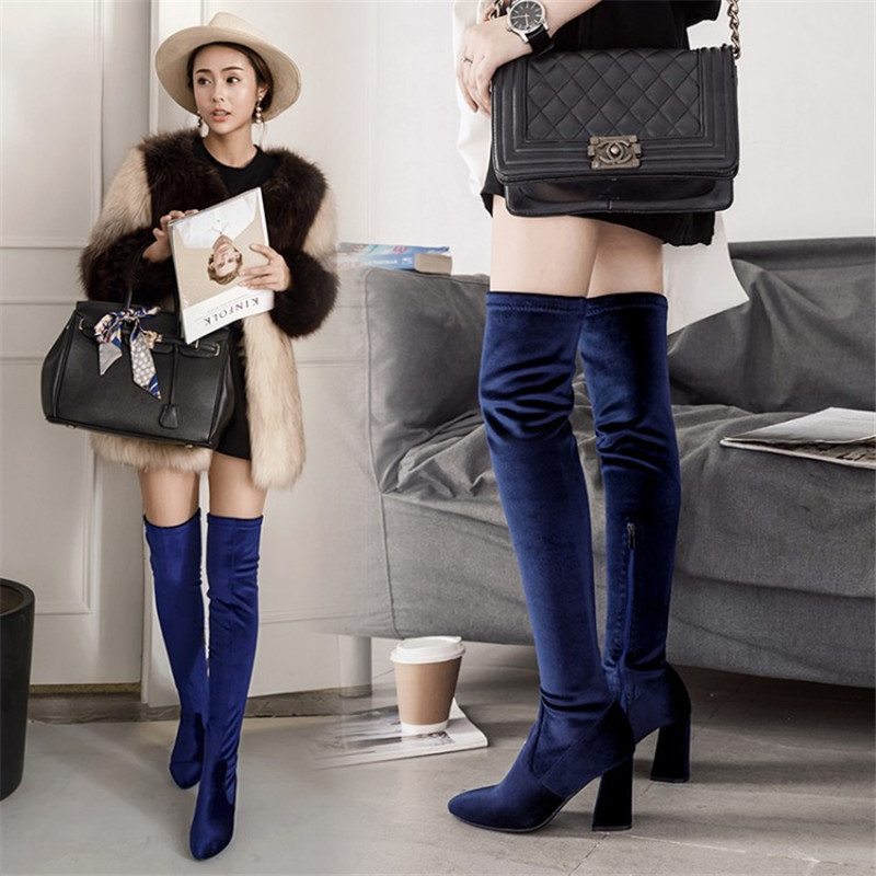2017 Faux Suede Stretch Boots Sexy Over The Knee High Women Snow Boots Winter Thigh High Long Boots Shoes Woman Bota Feminina 39 ppnu woman winter nubuck genuine leather over the knee snow boots women fashion womens suede thigh high boots ladies shoes flats