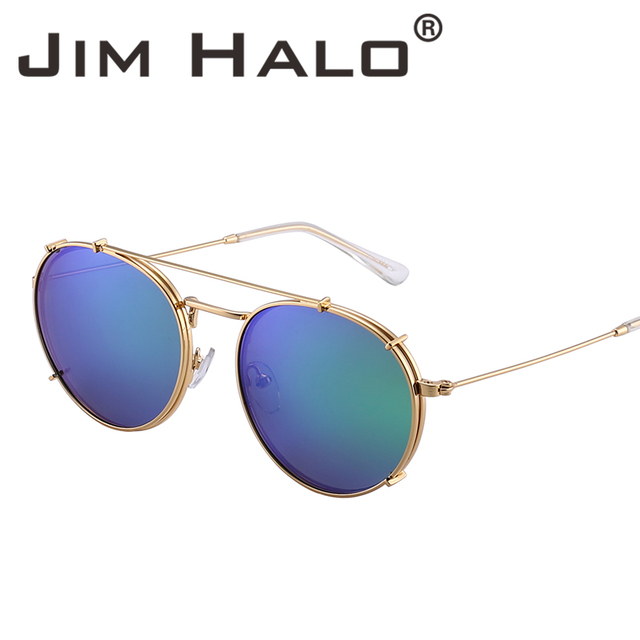 c377f6004a Jim Halo Round Polarized Clip On Sunglasses Metal Frame Mirror Circle Lens  Men Women Retro Vintage Oculos Steampunk Sun Glasses