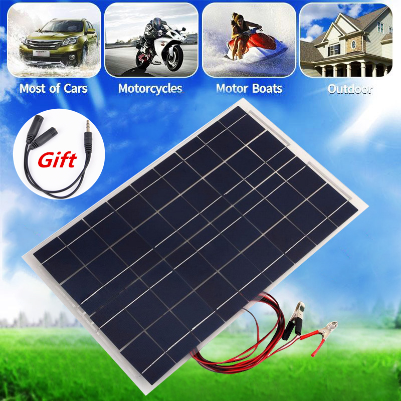 12V 30W Solar Panel PolyCrystalline Semi Flexible Solar Battery for Car Boat Emergency Lights Solar Systems Solar Module sp 36 120w 12v semi flexible monocrystalline solar panel waterproof high conversion efficiency for rv boat car 1 5m cable