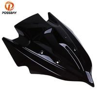 POSSBAY ABS Plastic Motorcycle Windshield Windscreen Double Bubble Scooter Accessories For Kawasaki Z250/Z750 2013 2015