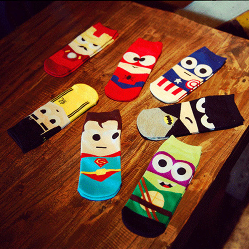 Dropshipping 36-43 Men Harajuku Socks Ninja Batman Superman SpiderMan Captain America Avengers Short Novelty Sokken Hip Hop Sock