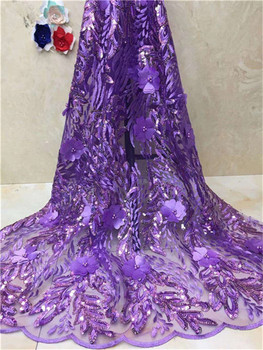 Beautiful India Women Wedding Lace Fabric African Sequins Net Laces Bride 3d Groom Dress Fabrics Ankara Mesh Tulle beads Lace