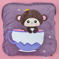 2 in 1 Multi function Cup Monkey Plush Cushion, Kids Child Plush Blanket Pillow Gift Free Shipping