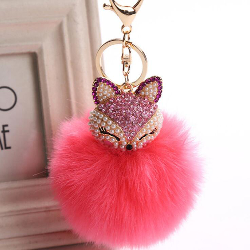 KMVEXO Lovely Fox Rabbit Fur Ball Fluffy Key Chains Rings Crystal Pearl Hot Sale Bag Pendant Keyrings KeyChains For Women 2018 15 colors pu leather braided woven rope double rings fit diy bag pendant key chains holder car keyrings men women keychains k224