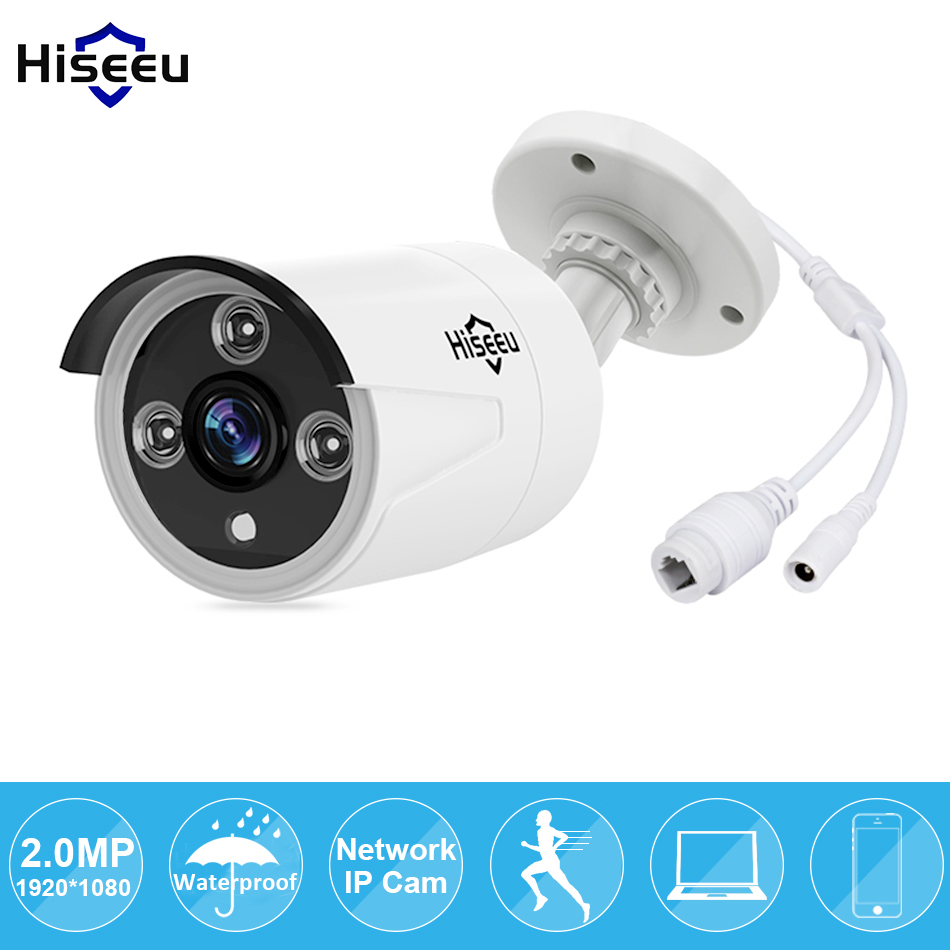 Hiseeu 1080P POE IP Camera 2.0MP Mini Bullet WDR IP Camera for cctv system ONVIF 2.0 Waterproof Outdoor Night Vision P2P Remote wistino cctv camera metal housing outdoor use waterproof bullet casing for ip camera hot sale white color cover case
