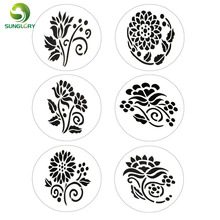 Small 6PCS Flowers Fondant Decorating Cake Stencil Kitchen Cupcake Decoration Stencils Template Mold Baking Tools For Cakes