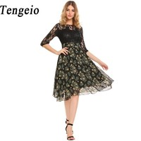 Tengeio Women White Lace Dress Casual 3 4 Sleeve Floral Print Patchwork Summer Chiffon Dress Elegant