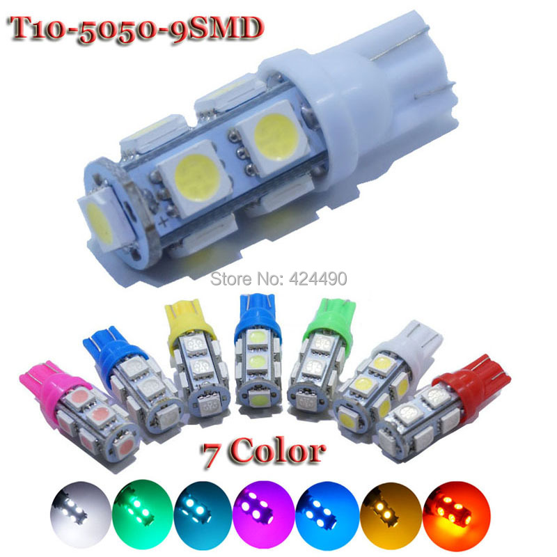 100 pieces X T10 9 SMD White 5050 Car 194 168 192 W5W Light Automobile Bulbs Lamp Wedge Interior 12V LED Light White 7 Color
