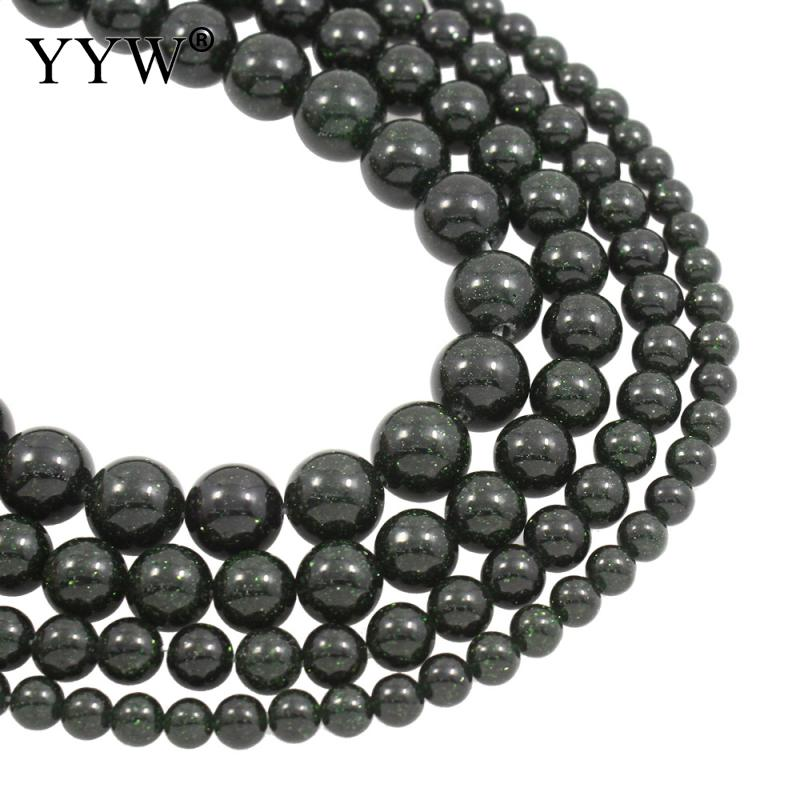 Natural Green Goldstone Beads 4mm 6mm 8mm 10mm 12mm Round Approx 1mm Sold Per Approx 15.5 Inch Strand
