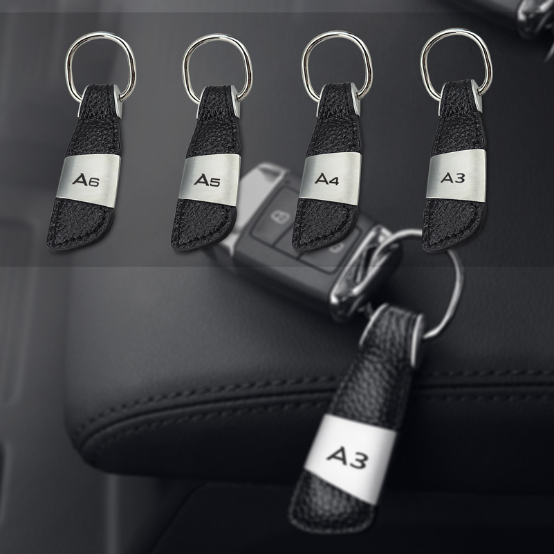 Car Logo Leather Keychain Keyring Key Chain Ring Key Holder for Audi A3 A4 A6 A7 A8 B6 S3 S4 S5 RS Q5 Car Styling Accessories image